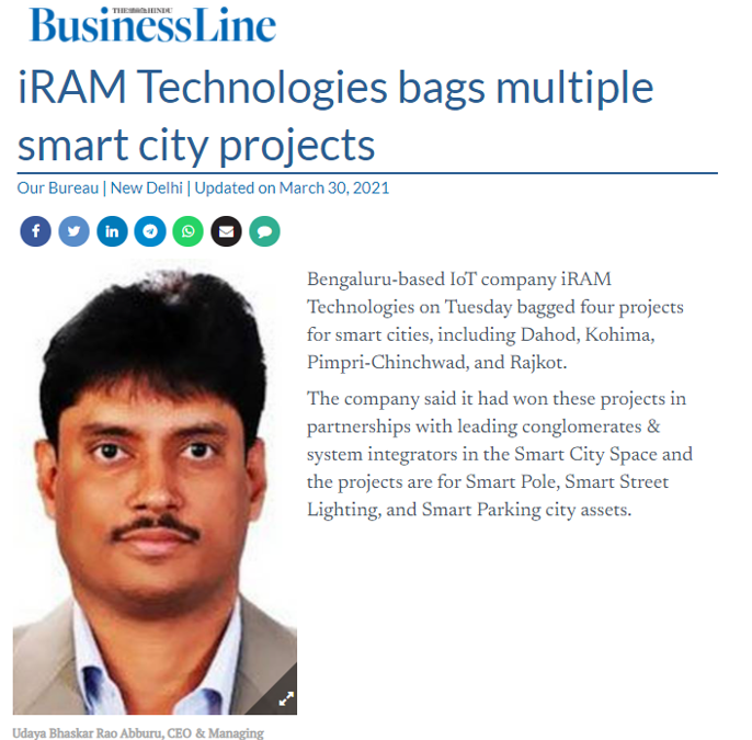 iRAM Technologies bags multiple smart city projects- The Hindu Business Line