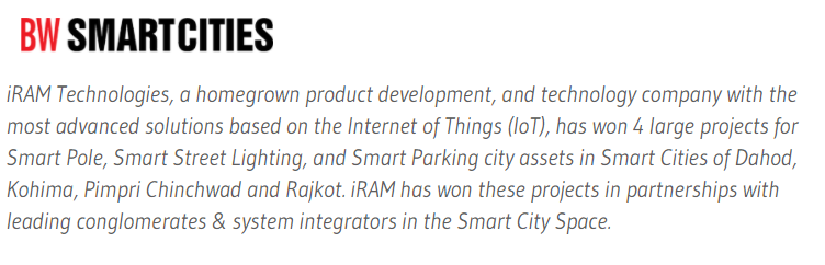 Homegrown IoT company iRAM Technologies bags 4 new projects in Dahod, Pimpri Chinchwad, Rajkot and Kohima Smart Cities- BW Smartcities