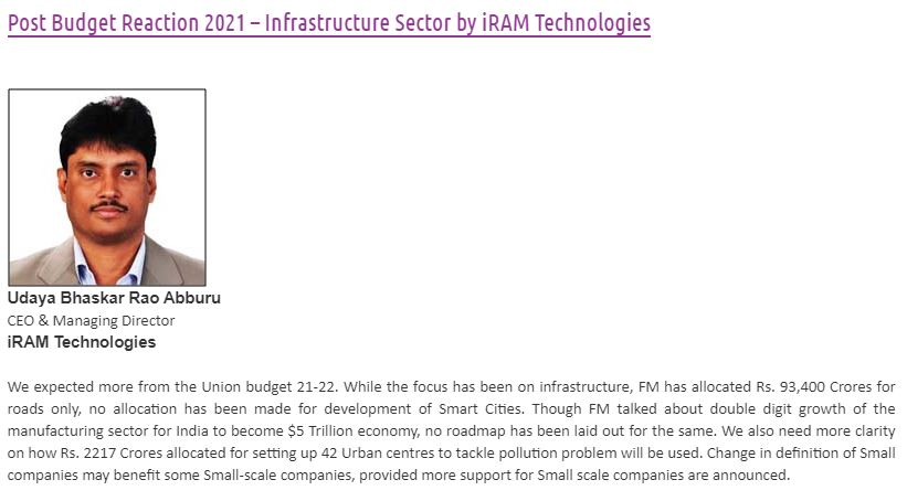 Post-Budget Reaction 2021 in Construction Technology